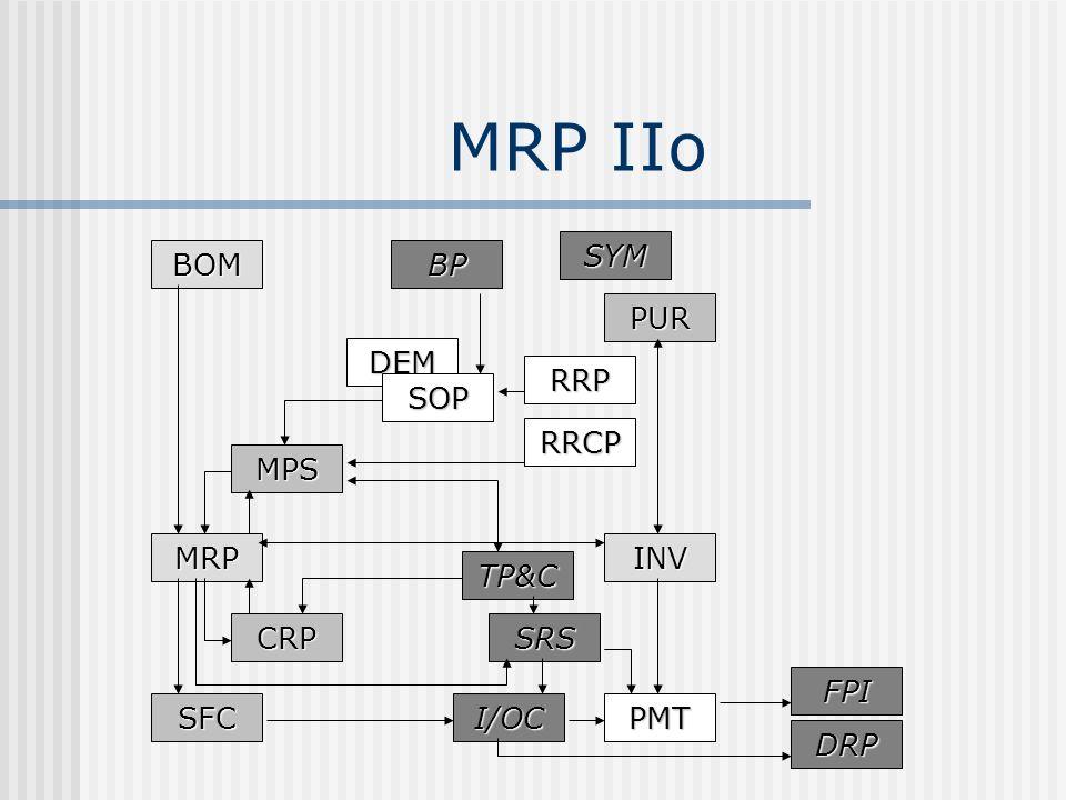 MRP IIo BOM MRPINV PUR MPS CRP SFC DEM SOP RRP RRCP PMTI/OC SRS FPI DRP TP&C BP SYM