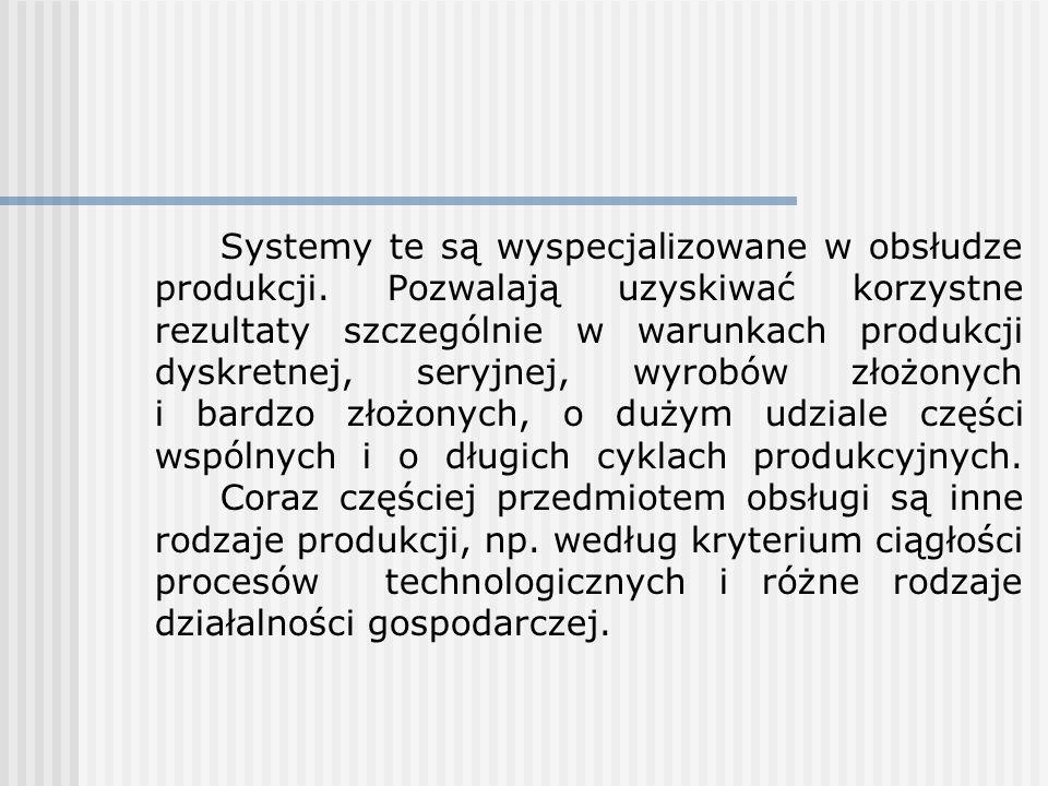 Systemy te są wyspecjalizowane w obsłudze produkcji. Pozwalają uzyskiwać korzystne rezultaty szczególnie w warunkach produkcji dyskretnej, seryjnej, w
