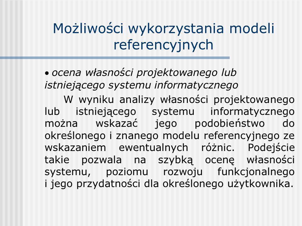 Możliwości wykorzystania modeli referencyjnych ocena własności projektowanego lub istniejącego systemu informatycznego W wyniku analizy własności proj