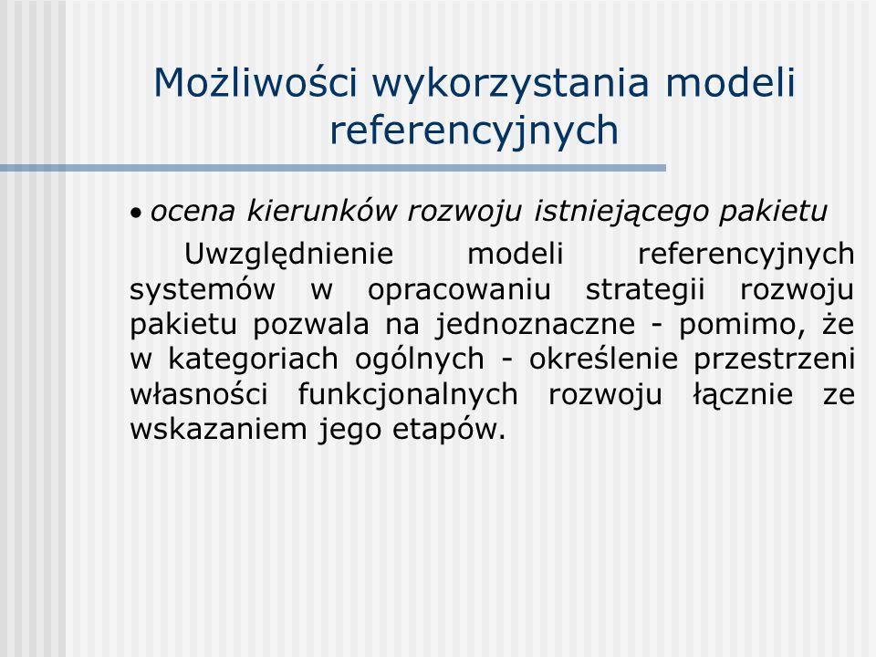 Możliwości wykorzystania modeli referencyjnych ocena kierunków rozwoju istniejącego pakietu Uwzględnienie modeli referencyjnych systemów w opracowaniu