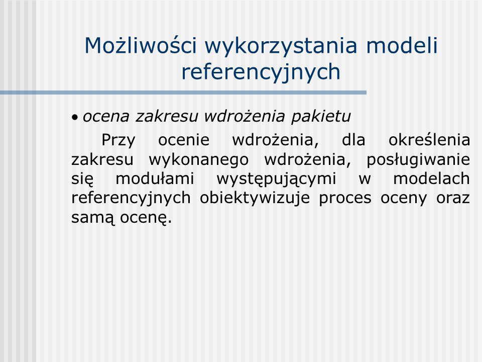 Możliwości wykorzystania modeli referencyjnych ocena zakresu wdrożenia pakietu Przy ocenie wdrożenia, dla określenia zakresu wykonanego wdrożenia, pos