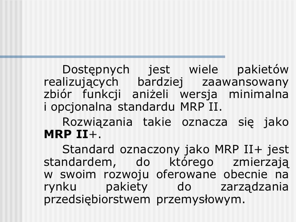 Dostępnych jest wiele pakietów realizujących bardziej zaawansowany zbiór funkcji aniżeli wersja minimalna i opcjonalna standardu MRP II. Rozwiązania t