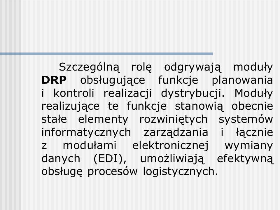 Szczególną rolę odgrywają moduły DRP obsługujące funkcje planowania i kontroli realizacji dystrybucji. Moduły realizujące te funkcje stanowią obecnie