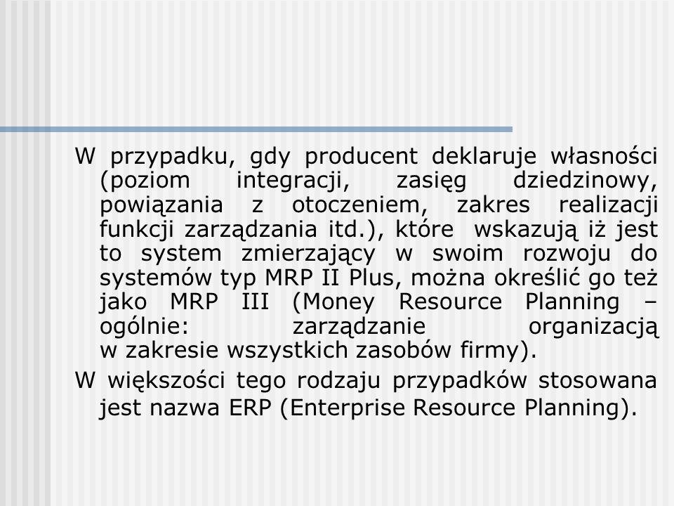 W przypadku, gdy producent deklaruje własności (poziom integracji, zasięg dziedzinowy, powiązania z otoczeniem, zakres realizacji funkcji zarządzania
