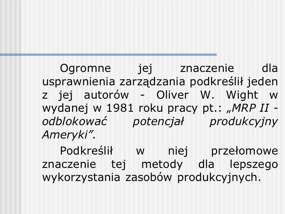 Metoda MRP II Początki metody sięgają połowy lat pięćdziesiątych kiedy to jeden z jej głównych autorów - Joseph A.