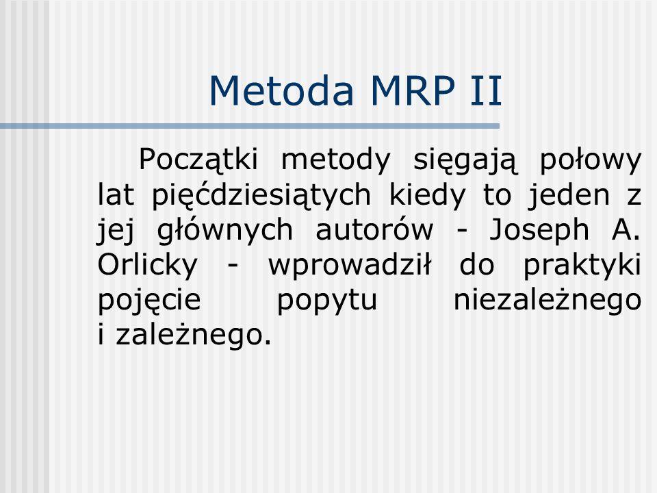 Metoda MRP II Początki metody sięgają połowy lat pięćdziesiątych kiedy to jeden z jej głównych autorów - Joseph A. Orlicky - wprowadził do praktyki po