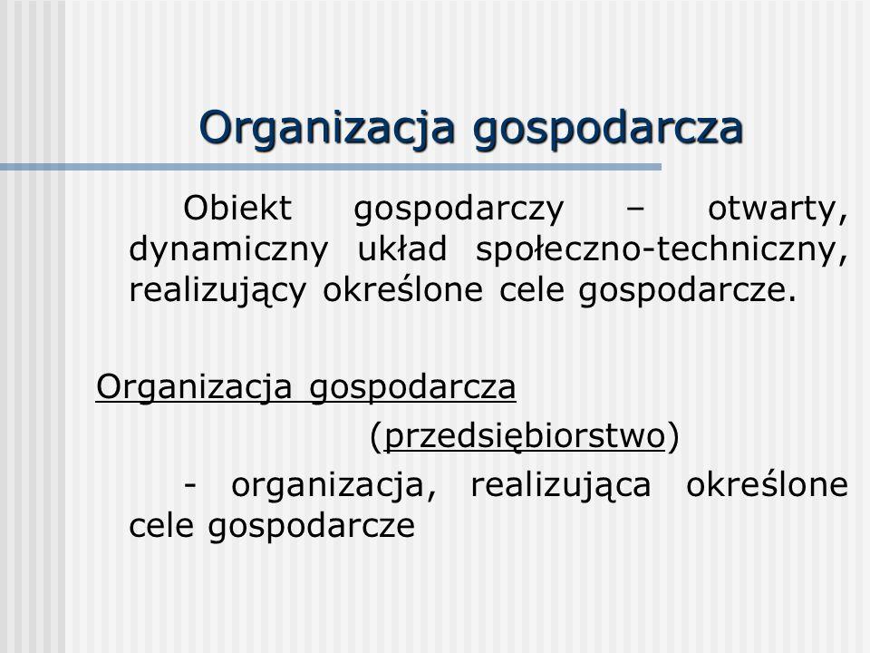 Organizacja gospodarcza Obiekt gospodarczy – otwarty, dynamiczny układ społeczno-techniczny, realizujący określone cele gospodarcze. Organizacja gospo