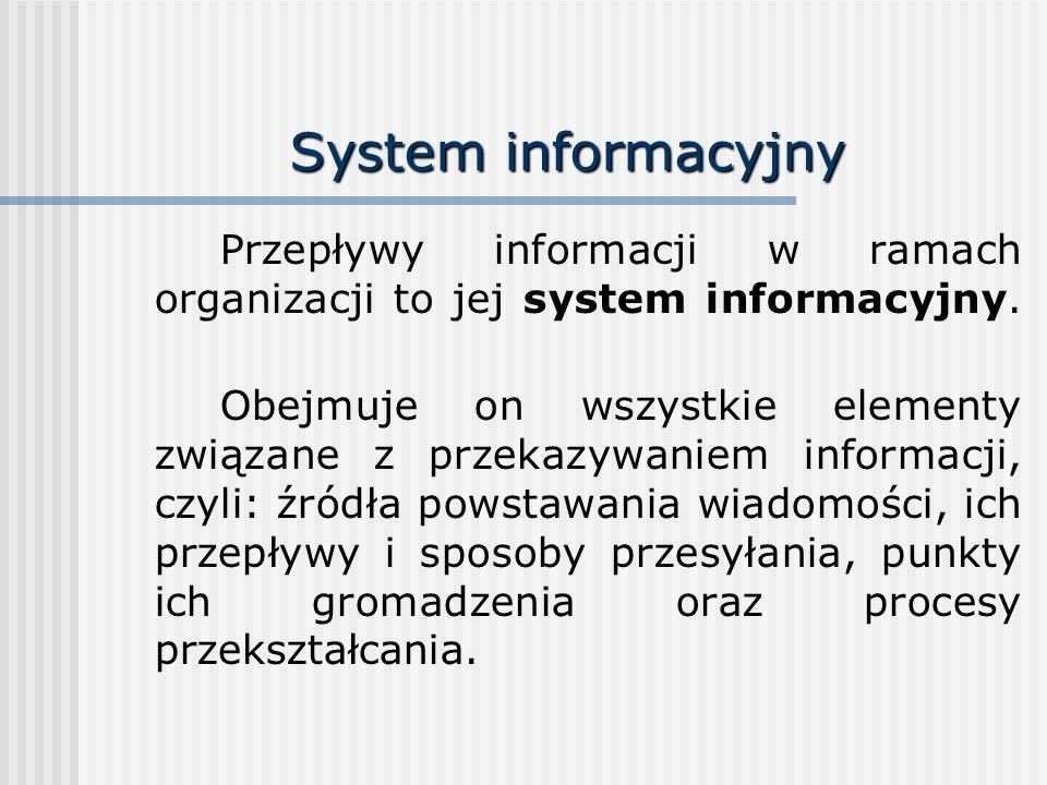 System informacyjny Przepływy informacji w ramach organizacji to jej system informacyjny. Obejmuje on wszystkie elementy związane z przekazywaniem inf