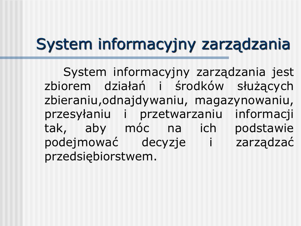 System informacyjny zarządzania System informacyjny zarządzania jest zbiorem działań i środków służących zbieraniu,odnajdywaniu, magazynowaniu, przesy