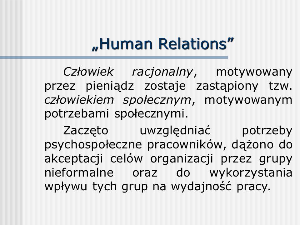 Human Relations Człowiek racjonalny, motywowany przez pieniądz zostaje zastąpiony tzw. człowiekiem społecznym, motywowanym potrzebami społecznymi. Zac