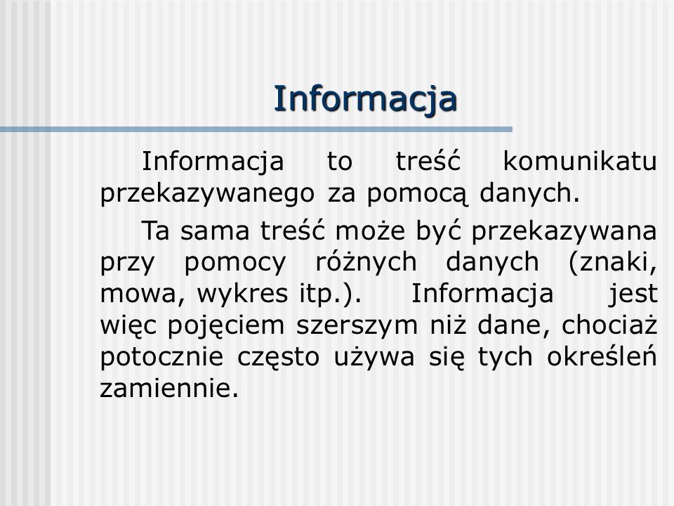 Informacja Informacja to treść komunikatu przekazywanego za pomocą danych. Ta sama treść może być przekazywana przy pomocy różnych danych (znaki, mowa