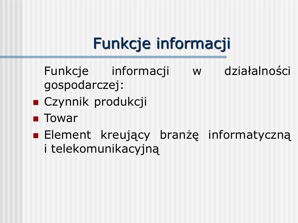 Funkcje informacji Funkcje informacji w działalności gospodarczej: Czynnik produkcji Towar Element kreujący branżę informatyczną i telekomunikacyjną