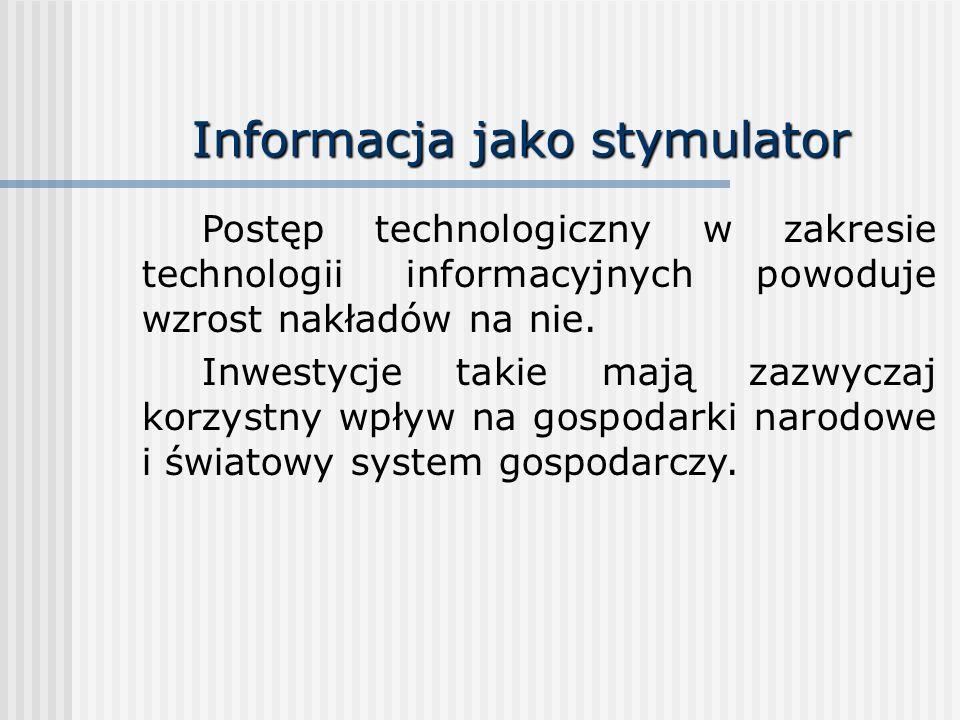 Informacja jako stymulator Postęp technologiczny w zakresie technologii informacyjnych powoduje wzrost nakładów na nie. Inwestycje takie mają zazwycza
