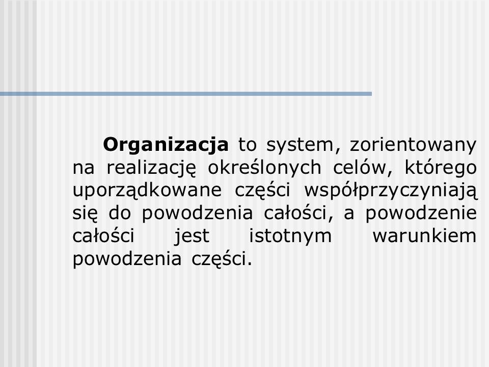 Organizacja Organizacja to system, zorientowany na realizację określonych celów, którego uporządkowane części współprzyczyniają się do powodzenia cało