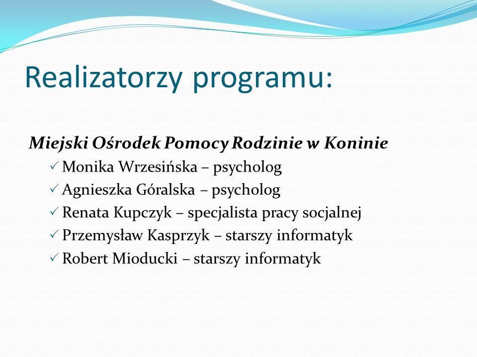 Realizatorzy programu: Miejski Ośrodek Pomocy Rodzinie w Koninie Monika Wrzesińska – psycholog Agnieszka Góralska – psycholog Renata Kupczyk – specjal