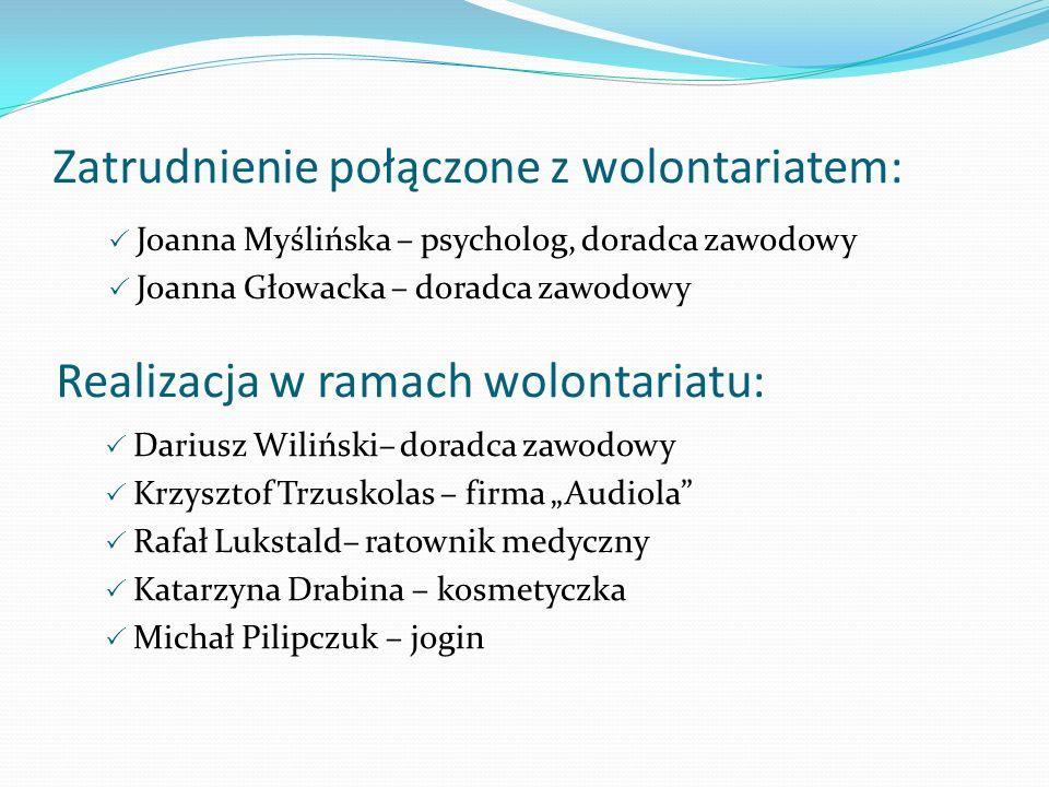 Zatrudnienie połączone z wolontariatem: Joanna Myślińska – psycholog, doradca zawodowy Joanna Głowacka – doradca zawodowy Realizacja w ramach wolontar