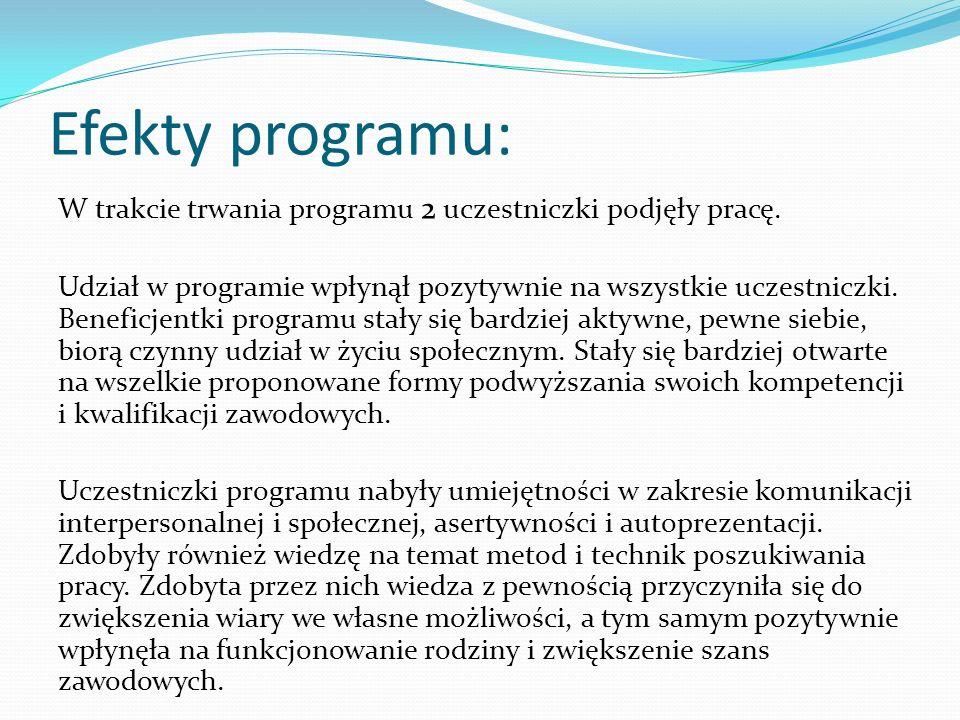 Efekty programu: W trakcie trwania programu 2 uczestniczki podjęły pracę. Udział w programie wpłynął pozytywnie na wszystkie uczestniczki. Beneficjent