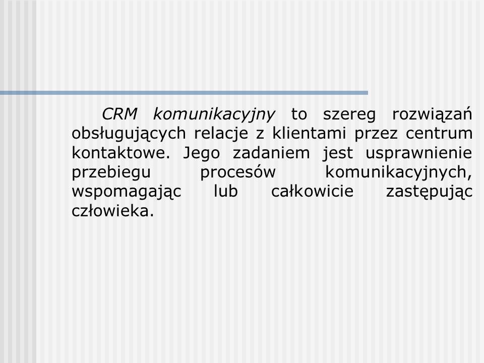 CRM komunikacyjny to szereg rozwiązań obsługujących relacje z klientami przez centrum kontaktowe. Jego zadaniem jest usprawnienie przebiegu procesów k
