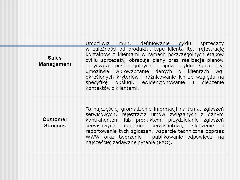 Telemarketing/ Telesales Zawiera funkcje umożliwiające budowę bazy rozmów wychodzących (lista osób/firm, które mogą zostać poddane telemarketingowi), funkcje: automatycznego wyboru numerów z określonej bazy danych, rejestracji rozmów i prowadzenia ich statystyk, gromadzenia danych na temat produktów, zarządzania cennikami (w tym współpraca z modułem sprzedaży), zarządzania kampaniami marketingowymi (budżetowanie, rozliczanie kampanii, prowadzenie akcji bezpośrednich – import baz danych, drukowanie etykiet), narzędzia do prognozowania sprzedaży na podstawie danych z kampanii.