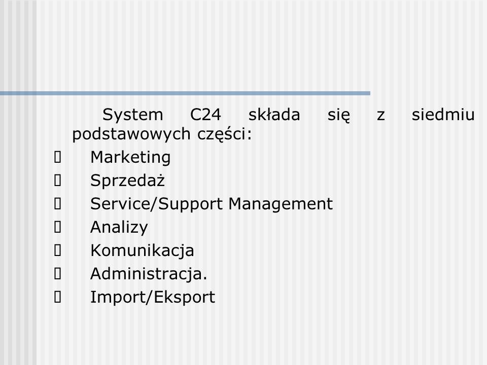 System C24 składa się z siedmiu podstawowych części: Marketing Sprzedaż Service/Support Management Analizy Komunikacja Administracja. Import/Eksport