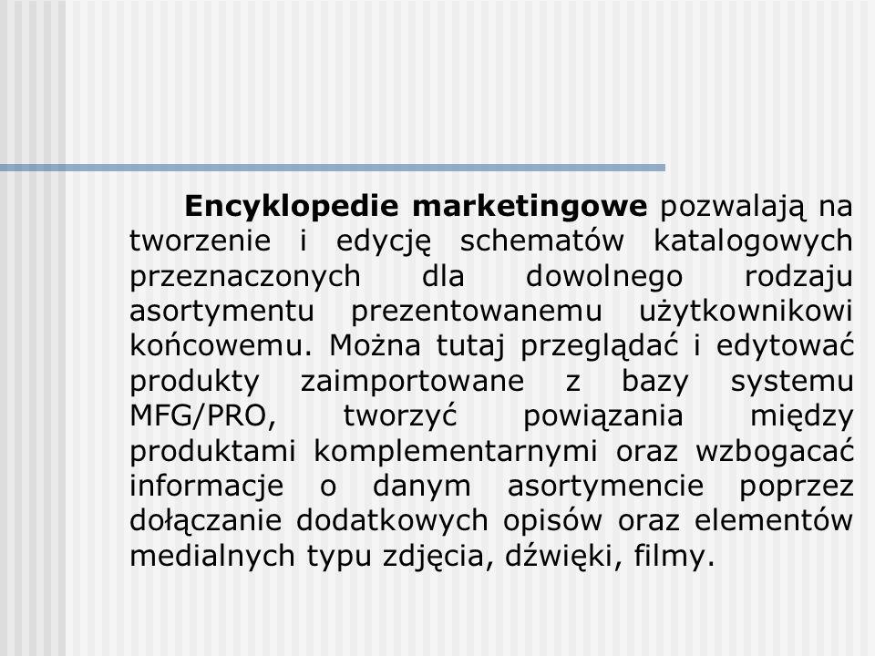Encyklopedie marketingowe pozwalają na tworzenie i edycję schematów katalogowych przeznaczonych dla dowolnego rodzaju asortymentu prezentowanemu użytk