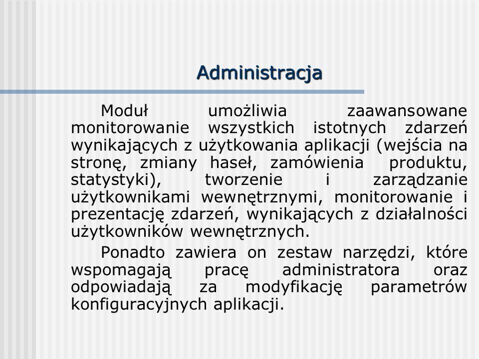 Administracja Moduł umożliwia zaawansowane monitorowanie wszystkich istotnych zdarzeń wynikających z użytkowania aplikacji (wejścia na stronę, zmiany