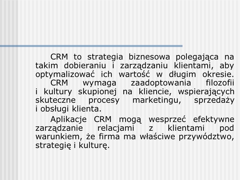 CRM to strategia biznesowa polegająca na takim dobieraniu i zarządzaniu klientami, aby optymalizować ich wartość w długim okresie. CRM wymaga zaadopto