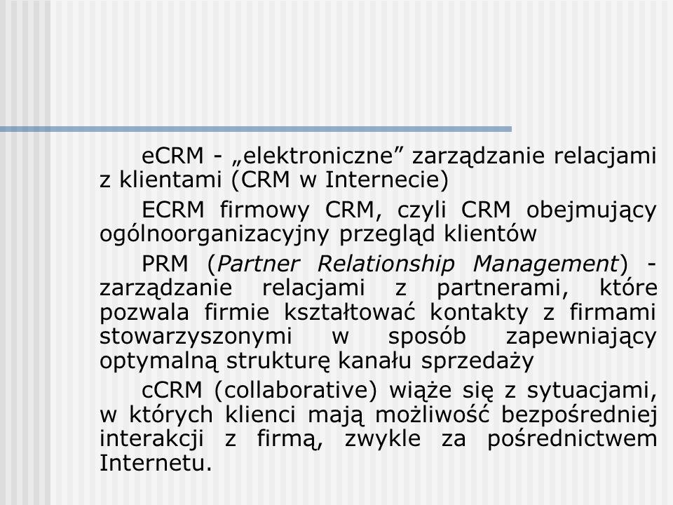 eCRM - elektroniczne zarządzanie relacjami z klientami (CRM w Internecie) ECRM firmowy CRM, czyli CRM obejmujący ogólnoorganizacyjny przegląd klientów