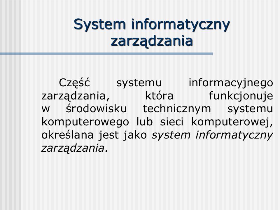 System informatyczny zarządzania Część systemu informacyjnego zarządzania, która funkcjonuje w środowisku technicznym systemu komputerowego lub sieci