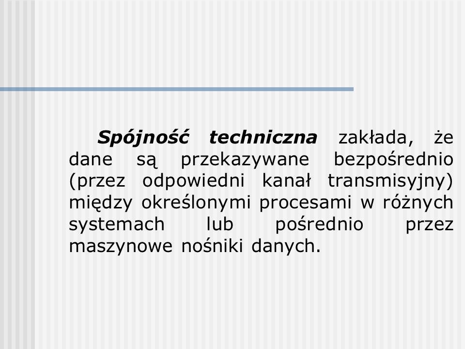 Spójność techniczna zakłada, że dane są przekazywane bezpośrednio (przez odpowiedni kanał transmisyjny) między określonymi procesami w różnych systema