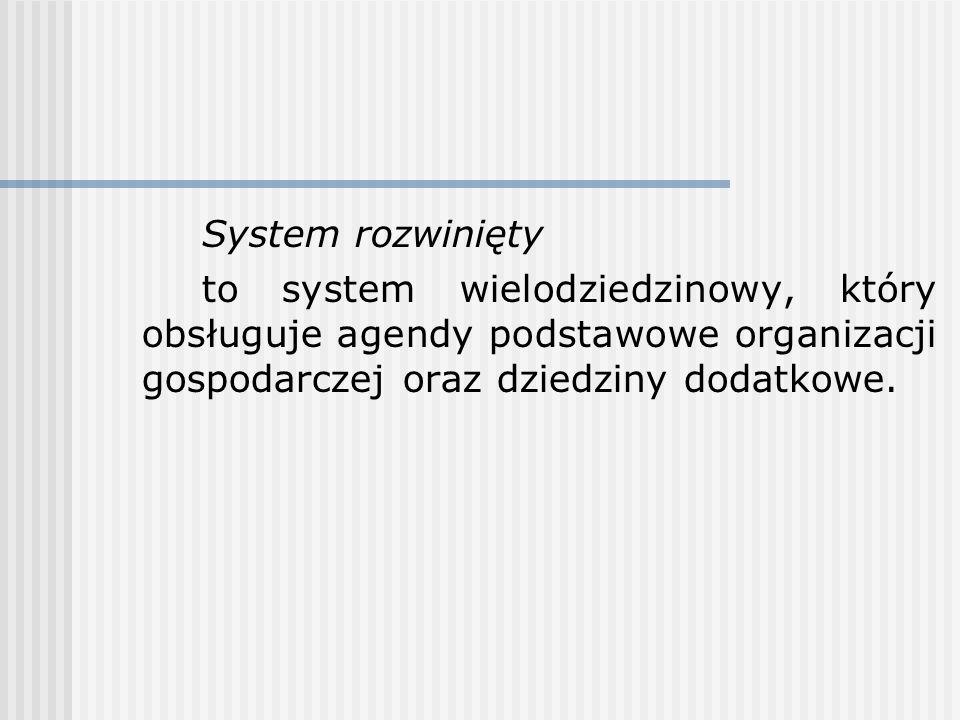 System rozwinięty to system wielodziedzinowy, który obsługuje agendy podstawowe organizacji gospodarczej oraz dziedziny dodatkowe.