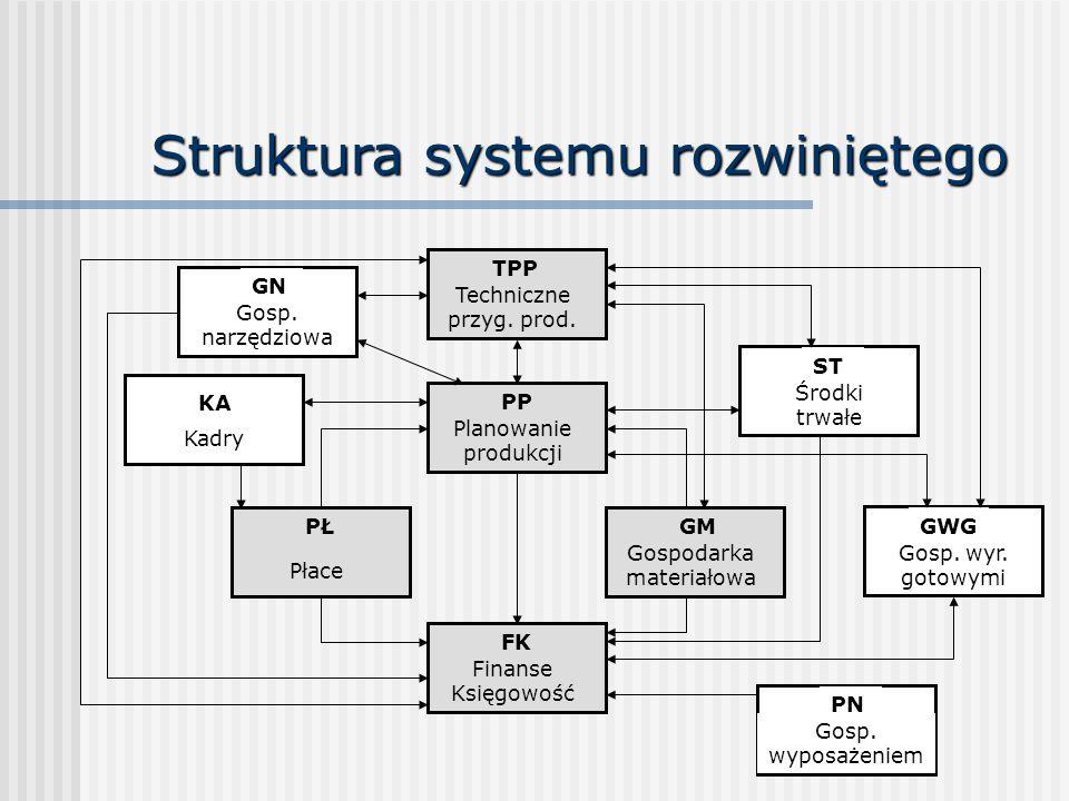 Struktura systemu rozwiniętego PŁ Płace GM Gospodarka materiałowa PP Planowanie produkcji FK Finanse Księgowość TPP Techniczne przyg. prod. KA Kadry G