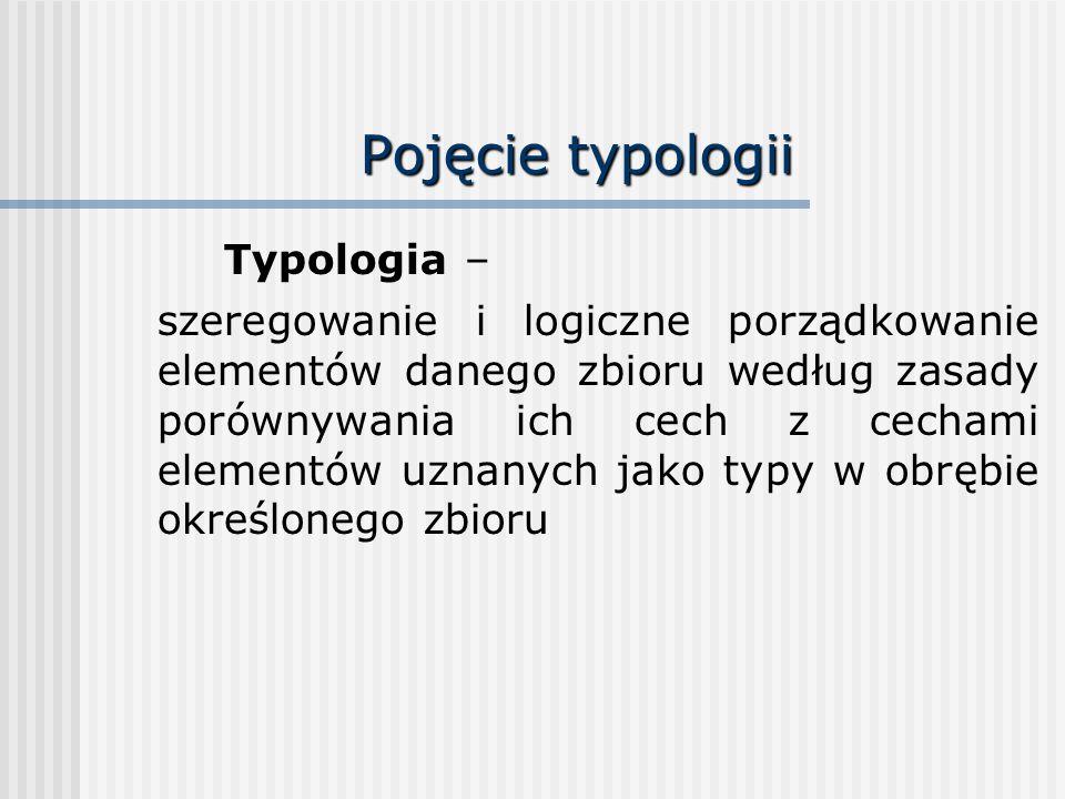 Pojęcie typologii Typologia – szeregowanie i logiczne porządkowanie elementów danego zbioru według zasady porównywania ich cech z cechami elementów uz