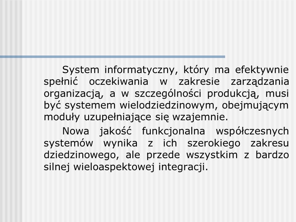 System informatyczny, który ma efektywnie spełnić oczekiwania w zakresie zarządzania organizacją, a w szczególności produkcją, musi być systemem wielo
