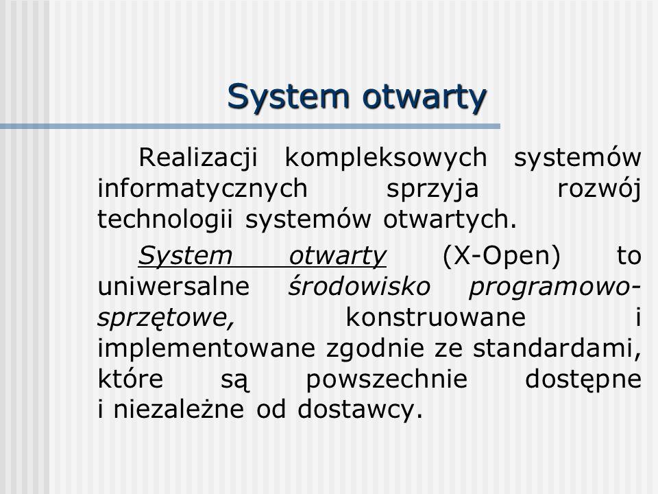 System otwarty Realizacji kompleksowych systemów informatycznych sprzyja rozwój technologii systemów otwartych. System otwarty System otwarty (X-Open)
