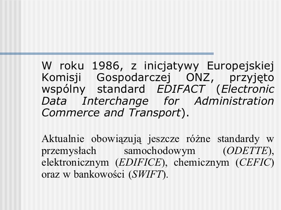 W roku 1986, z inicjatywy Europejskiej Komisji Gospodarczej ONZ, przyjęto wspólny standard EDIFACT (Electronic Data Interchange for Administration Com