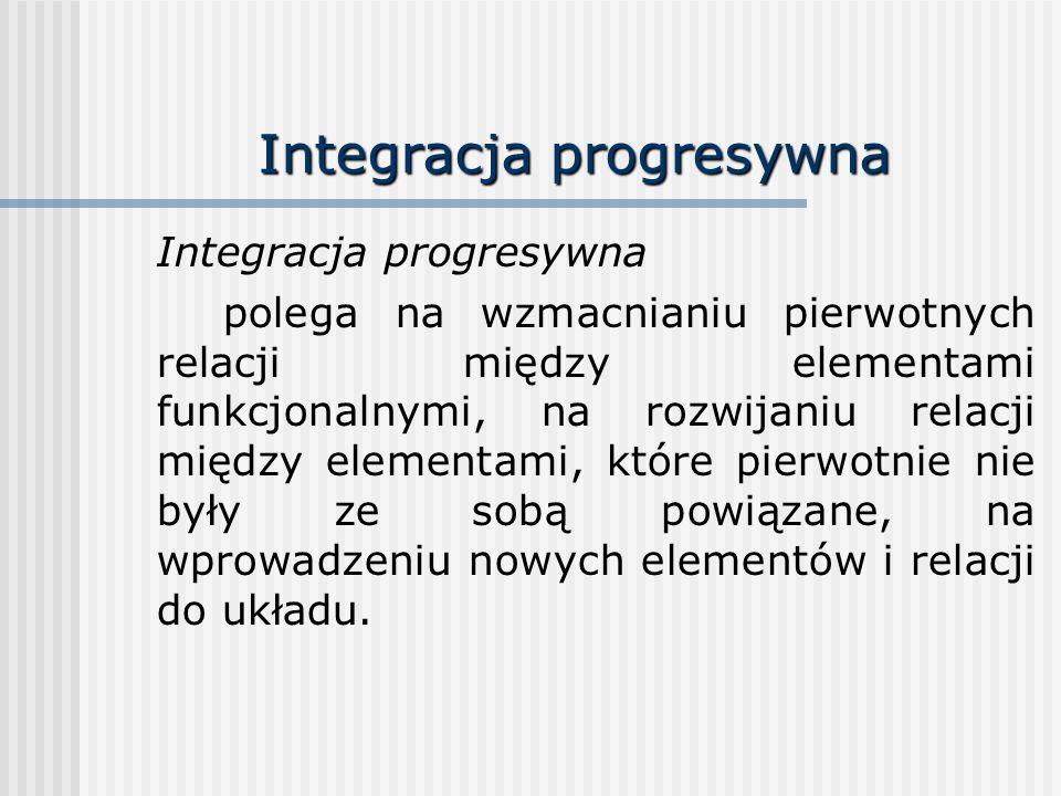 Integracja progresywna polega na wzmacnianiu pierwotnych relacji między elementami funkcjonalnymi, na rozwijaniu relacji między elementami, które pier