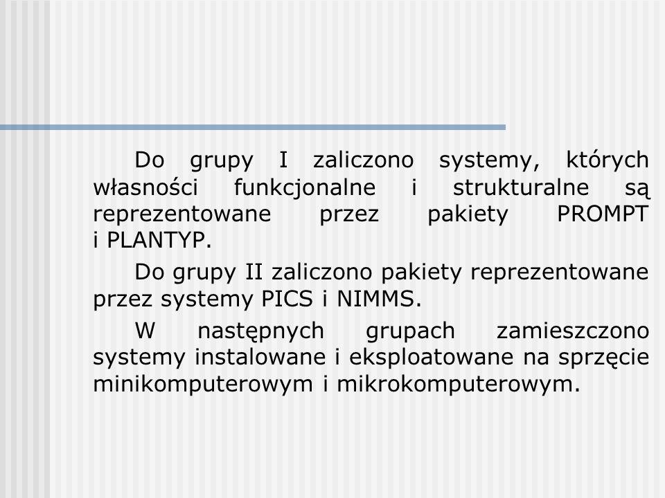 Do grupy I zaliczono systemy, których własności funkcjonalne i strukturalne są reprezentowane przez pakiety PROMPT i PLANTYP. Do grupy II zaliczono pa