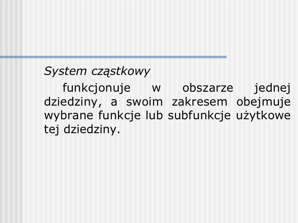 System cząstkowy funkcjonuje w obszarze jednej dziedziny, a swoim zakresem obejmuje wybrane funkcje lub subfunkcje użytkowe tej dziedziny.