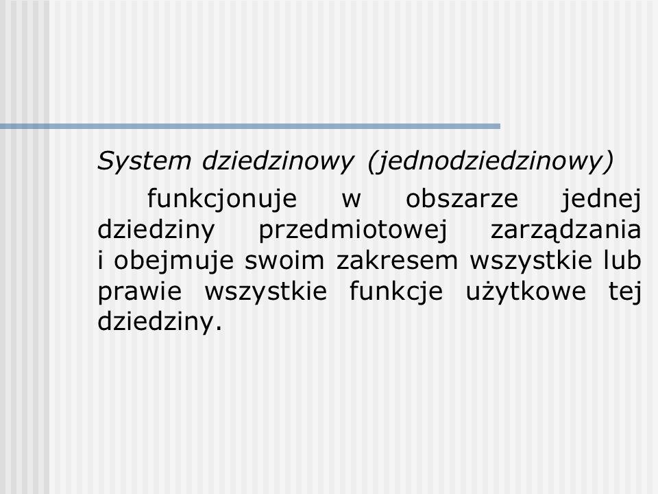 System dziedzinowy (jednodziedzinowy) funkcjonuje w obszarze jednej dziedziny przedmiotowej zarządzania i obejmuje swoim zakresem wszystkie lub prawie