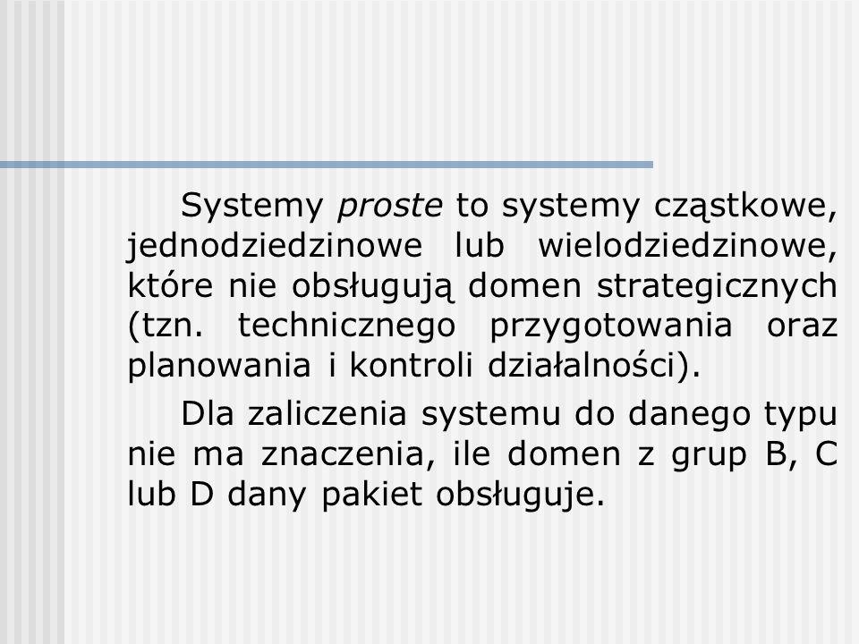 Systemy proste to systemy cząstkowe, jednodziedzinowe lub wielodziedzinowe, które nie obsługują domen strategicznych (tzn. technicznego przygotowania