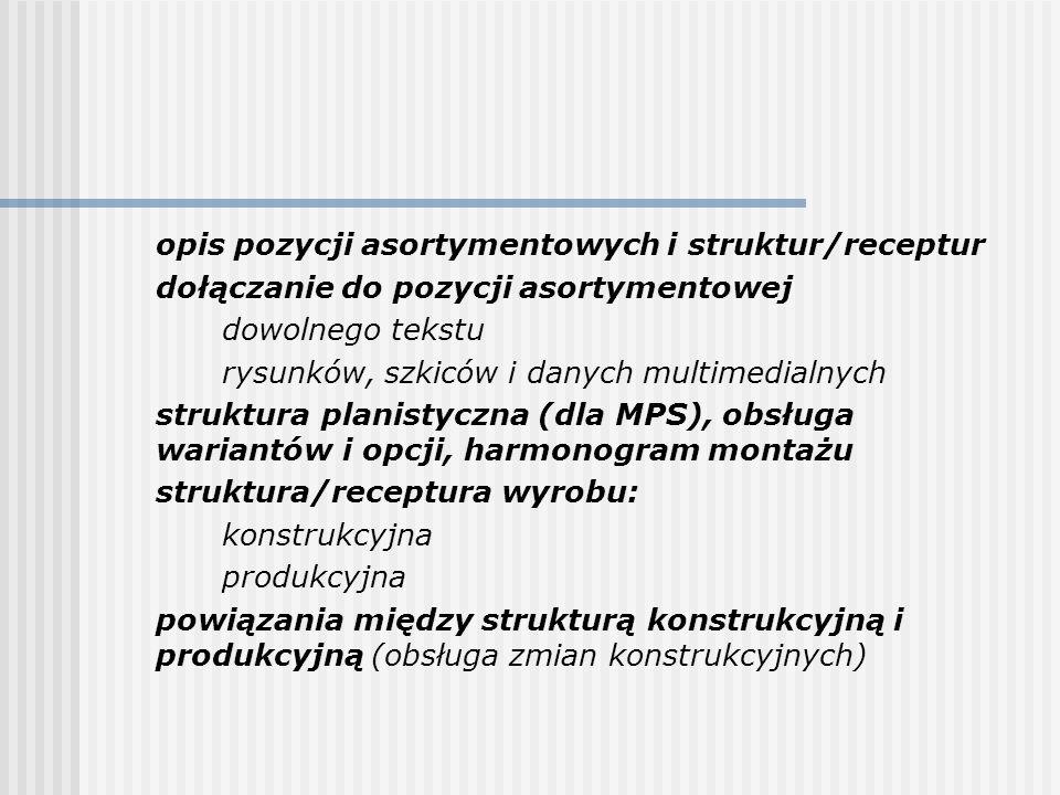 opis pozycji asortymentowych i struktur/receptur dołączanie do pozycji asortymentowej dowolnego tekstu rysunków, szkiców i danych multimedialnych stru