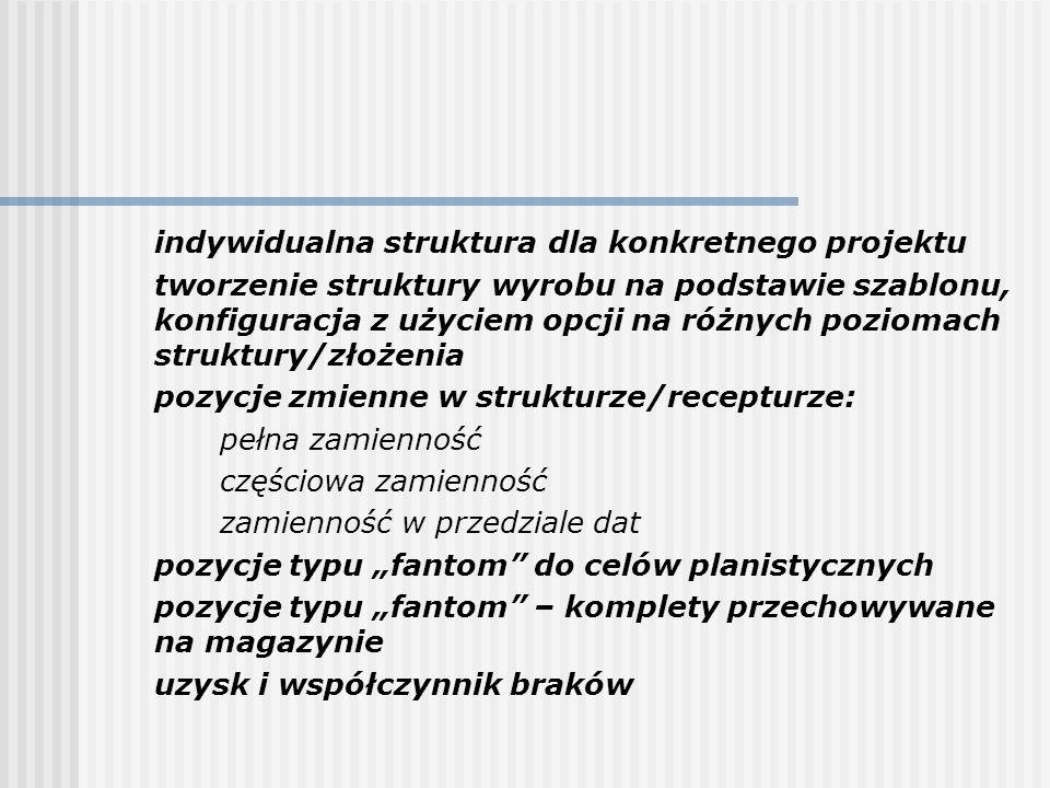 indywidualna struktura dla konkretnego projektu tworzenie struktury wyrobu na podstawie szablonu, konfiguracja z użyciem opcji na różnych poziomach st