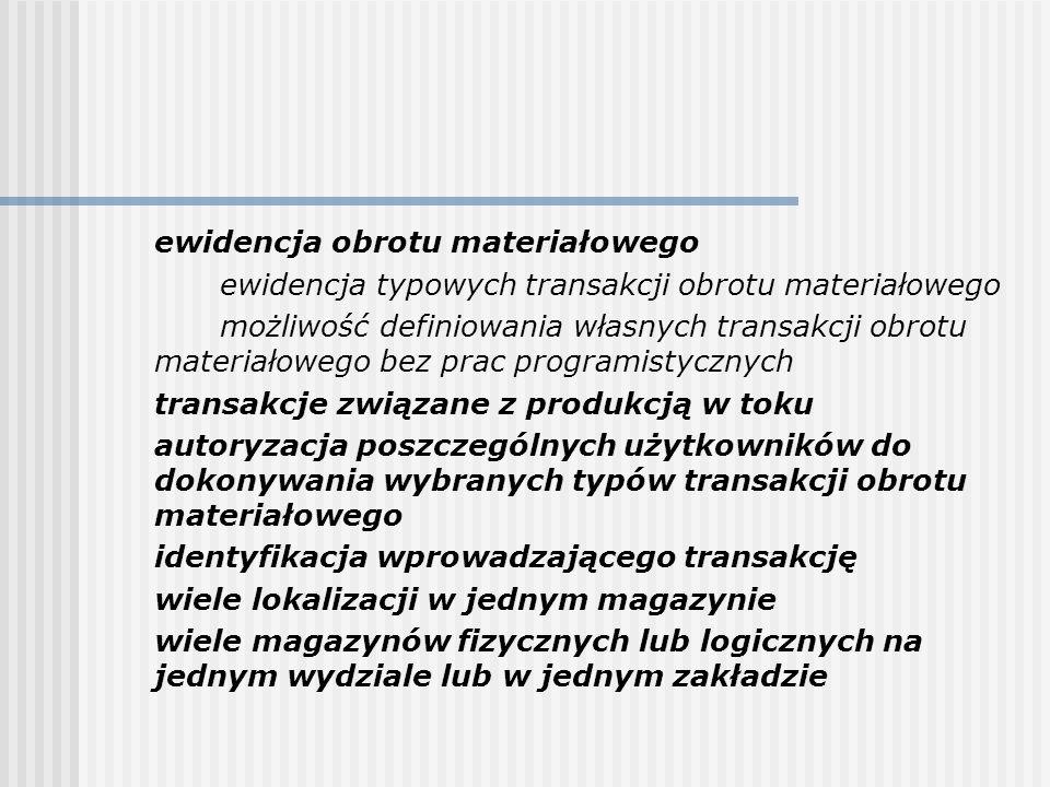 ewidencja obrotu materiałowego ewidencja typowych transakcji obrotu materiałowego możliwość definiowania własnych transakcji obrotu materiałowego bez