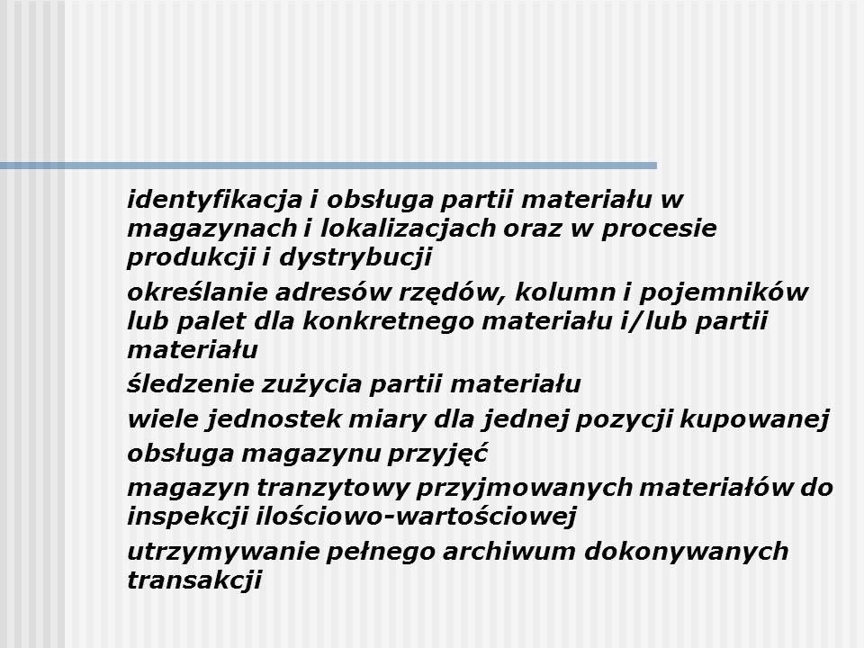 identyfikacja i obsługa partii materiału w magazynach i lokalizacjach oraz w procesie produkcji i dystrybucji określanie adresów rzędów, kolumn i poje