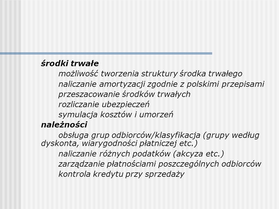 środki trwałe możliwość tworzenia struktury środka trwałego naliczanie amortyzacji zgodnie z polskimi przepisami przeszacowanie środków trwałych rozli