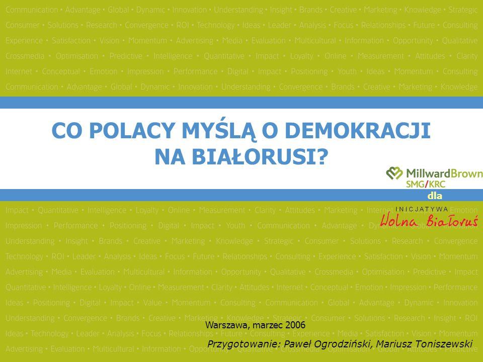 CO POLACY MYŚLĄ O DEMOKRACJI NA BIAŁORUSI? Warszawa, marzec 2006 Przygotowanie: Paweł Ogrodziński, Mariusz Toniszewski dla