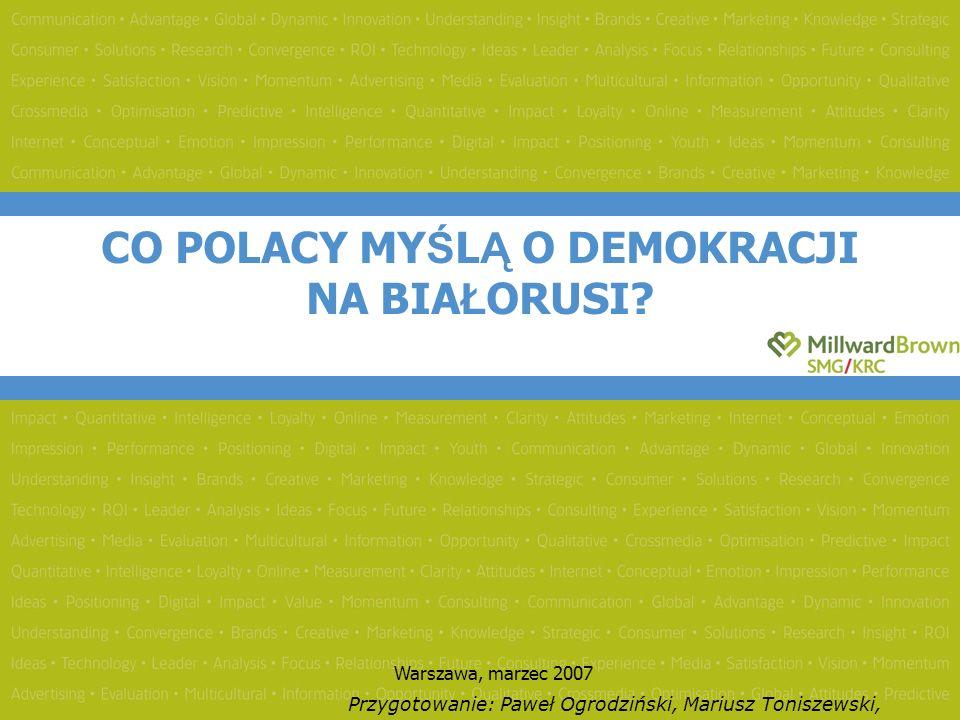 CO POLACY MY Ś L Ą O DEMOKRACJI NA BIA Ł ORUSI.