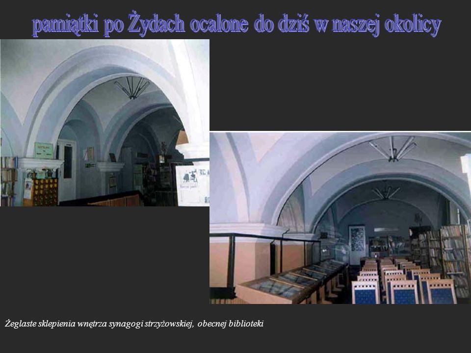Żeglaste sklepienia wnętrza synagogi strzyżowskiej, obecnej biblioteki