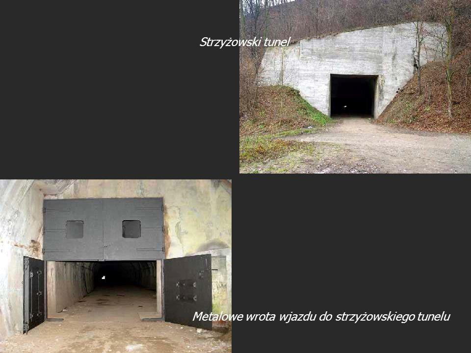 Metalowe wrota wjazdu do strzyżowskiego tunelu Strzyżowski tunel